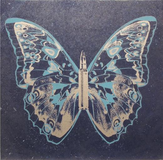 Silver - Light Blue Butterfly II on Denim Blue, 2017