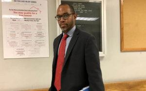 Attorney Alfred Toussaint of CAMBA in Brooklyn Housing Court.