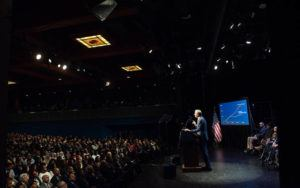 Mayor de Blasio delivers his State of the City address in an auditorium