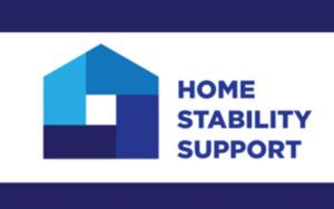 A blue and purple logo for the Home Stability Support campaign