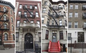 Four photos of apartment façades